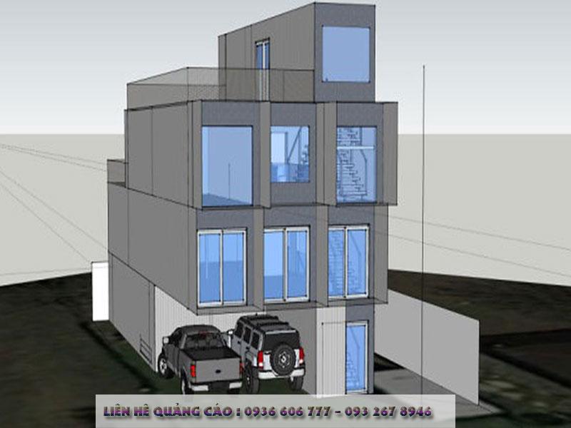 Ngôi nhà 3 tầnglàm chotrong khoảng11 container