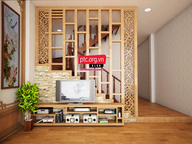 Đặc điểm vách ngăn phòng khách gỗ tự nhiên